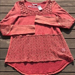NWT Maurices Womens M Top Distressed Red